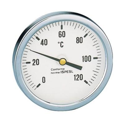 TERMOMETRO BIMETALLICO POSTERIORE 0-120 °C Ø 40 mm CON POZZETTO 3//8 CM 3,5